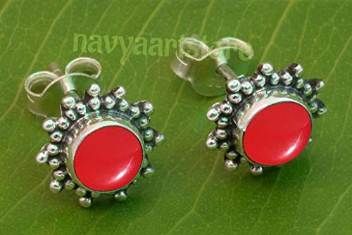 Coral Stud - 925 Sterling Silver Red Coral Stud Post Earrings - Coral Stone Gemstone Stud Earring Gift Jewellery For Girl women