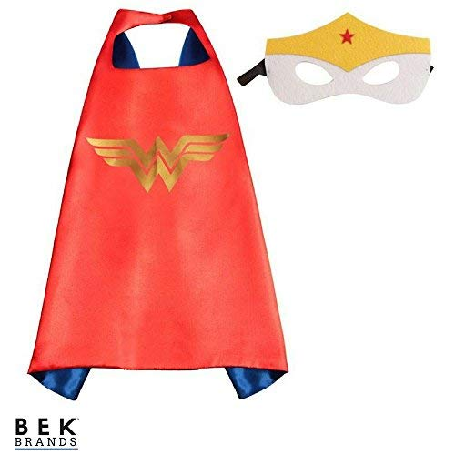 Bek Brands DC Comics Wonder Woman Superhero Cape and Mask Set | Dress up Satin Cape and Felt Mask, Costume for Kids Party