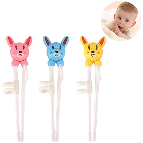 Baby Children Beginner Learning Flatware Anti-slip Right Handed Traning Helper Chopsticks (3 pcs multi color) ()