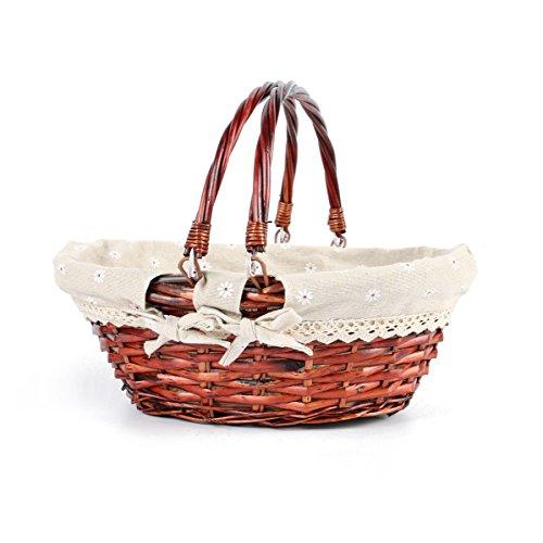 MEIEM Gift Basket Oval Willow Basket with Double Drop Down Handles Cheap Wicker Woven Picnic Basket (Auburn) (Famous Baskets)