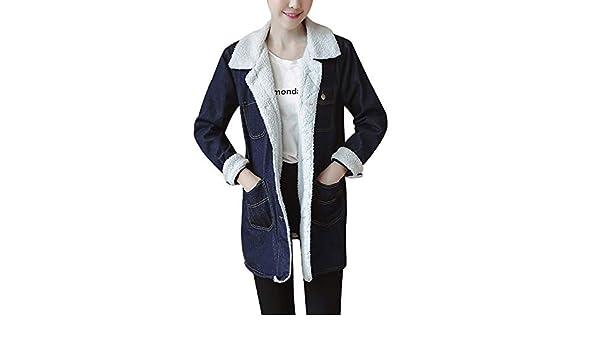 PXiong Winter Jeans Jackets Women, Warm Fur Denim Coats Long Retro Chaqueta at Amazon Womens Coats Shop