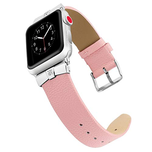 Leather Bands Compatible Watch Band Slim Replacement Wristband Sport Strap for Iwatch, Edition Stainless Steel Buckle,MmNote(Pink)