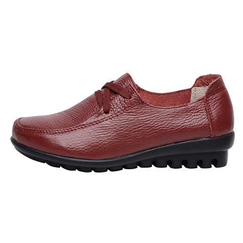 Les Femmes Optimales Travaillent Des Chaussures De Pompe En Cuir Non-slip Brown-straps-flat