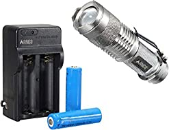 FINIGO Mini 7W 300LM Led Flashlight Torch Adjustable Focus Zoom Light (With 14500 Batteries and Charger) by FINIGO