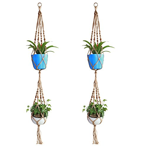 Accmor Double-Deck Plant Hanger - 4 Legs 60Inch Strong Handmade Pure Natural Jute Indoor Outdoor Patio Deck Ceiling Plant Holder for Round & Square Pots - Retro Feeling & Unmatched Finesse(2 Pack)