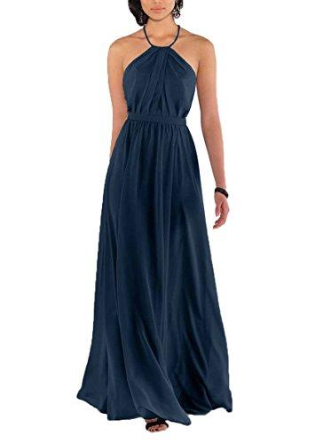 Prom Dress Skirt Chiffon Full (Nicefashion Women's Elegant Spaghetti Straps Pleated Chiffon Floor Length Wedding Party Dresses Navy Blue US2)