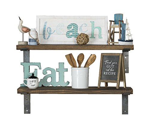 del Hutson Designs - Industrial Shelves w/ Metal Brackets (Set of 2), USA Handmade, Pine Wood (5H x 36W x 10D, Dark Walnut) by del Hutson Designs