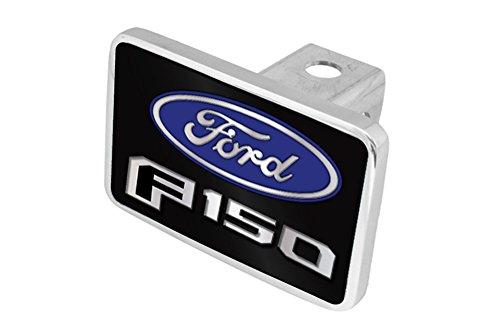 Eurosport Daytona Premium XL Aluminum Hitch Plug- 2015 Ford F-150 L/W Black Acrylic Plate, Blue w Mirror Oval, Mirror Word, Black F