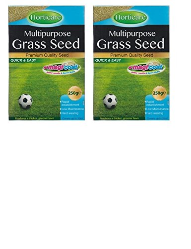 2 x Horticare Multipurpose Grass Seed 250g Thicker Greener Lawn 10M2 Coverage 151