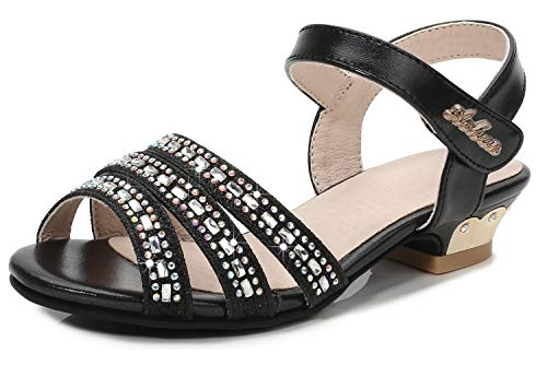 Walofou Little Girl Sandals Size 4.5 Teen Princess High Heel Wedge Dress Sandals for Girls Big Kids Wedding Summer Bench Youth Girl Dress Sandal Cute Sequins Knot Crystal Black 11t Shoe (Black 36 -