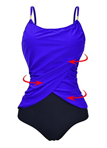 Zando Womens Vintage Frilly One Piece Swimsuit Tummy Control Swimwear Swimsuits Color Splicing Plus Size Bathing Suits Royal Blue 2XL (US - One Size Chart Swimsuit Piece