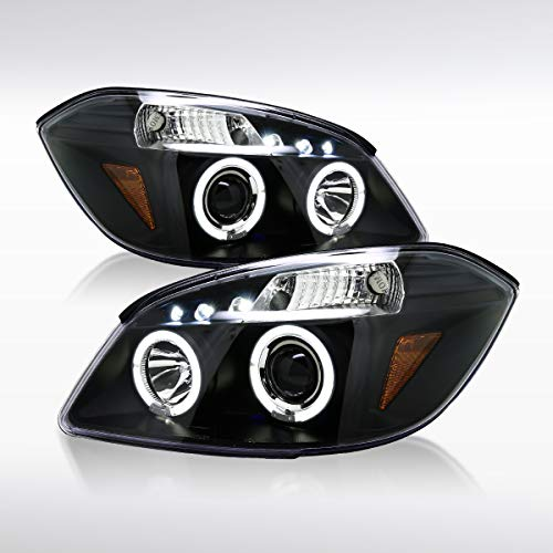Autozensation For Chevy Cobalt G5 Black LED Halo Projector Headlights - Ss 4 Door Cobalt