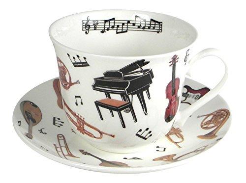 Roy Kirkham Concert Instrument Breakfast Teacup and Saucer Set Fine Bone China England