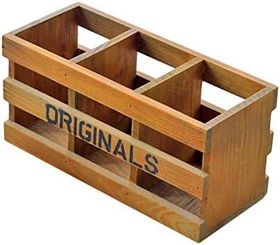 Lumanuby 1x Schreibtisch Tidy Holz Multifunktional Tisch Organizer 3-Stifteköcher Vintage Style mit Zwei Hohlen Fenster-fur Bürobedarf/Kosmetische 24*10.5*11.5cm, Stifthalter Serie