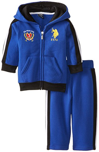 Boys' Zip Up Hoodie and Track Pant, Cobalt Blue, 18 Months (Blue Embroidered Hoodie Pant)