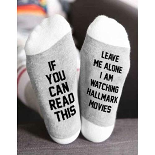 Tulas Hallmark Movies Soft Socks Christmas Letters Printed Women Winter Warm Socks Gifts (White Letter,1 Pair)