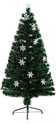 homcom Albero di Natale Artificiale in Fibra Ottica con 20 luci LED a Forma di Cristallo di Neve Altezza 150 cm foltissimo