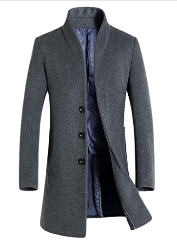 WSPLYSPJY Mens Single-breasted Wool Blend Full Long Trench Coat Overcoat Grey L
