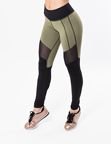 Iron Lily Women's Vanquish Leggings, Olive Green, Small by Iron Lily