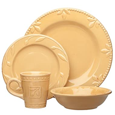 Signature Housewares Sorrento Collection Stoneware 4-Piece Dinnerware Set, Gold Antiqued Finish