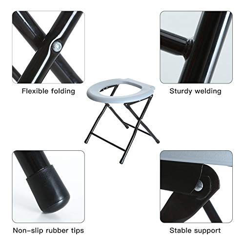 Odthelda Folding Commode Portable Toilet Seat Potty Commode Chair Steel Camping Toilet Seat by Odthelda (Image #5)