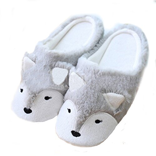 Womens Indoor Warm Fleece Slippers, Ladies Girls Cute Cartoon Winter Soft Cozy Booties Non-slip Plush Mules Home Bedroom Slip-on Shoes Ankle Boots (US size: 5/6(EUR size: 36/37), Grey Fox)