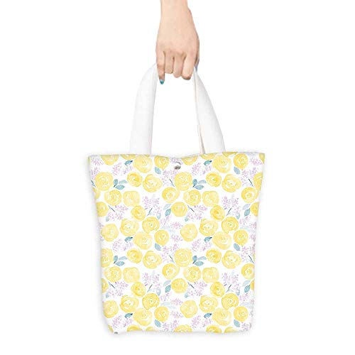 Grocery Bag Watercolor Flower Decor Collection Pale Roses and Cute Little Flowers Paint Pretty Floral Vintage Artwork Lilac Yellow White (W15.75 x L17.71 Inch)