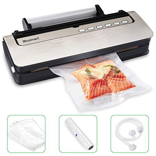 Vacuum Sealer Blusmart 80Kpa Automatic Food Sealer Machine for Food Saver and Preservation with Dry & Moist Modes, Started Kit of Rolls,Double-Layer Heat Sealing,Hose for Food Saver and Sous Vide