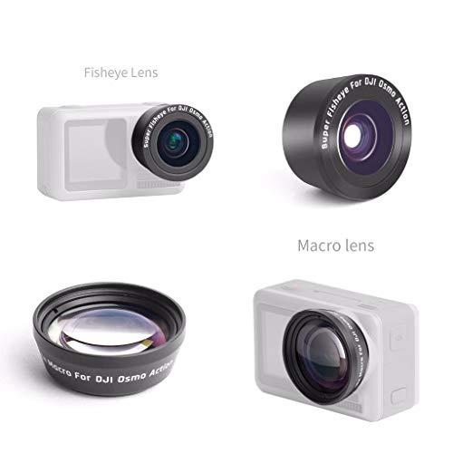 Sodoop 2-Pack (Macro Lens + Fisheye Lens) Macro HD Anti-Shake Portable for DJI OSMO Action 4K Camera