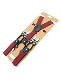 COMVIP Children Y-shape Brown Leather Striped Adjustable Suspenders Braces
