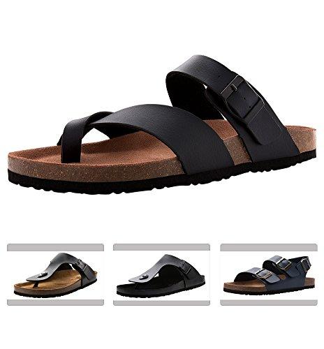 (VVFamily Black Sandals for Men Beach Slide Shoes (EU 42, Phantom))