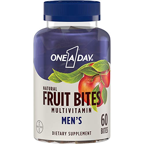 One A Day Men's Natural Fruit Bites Multivitamin with Immune Health Support*, 60 Count (1 month supply), Gluten Free…