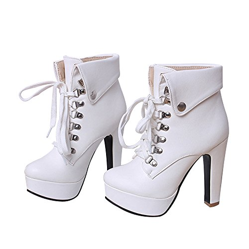 Leanna Women's Winter Party Fashion Waterproof Platform Chunky High Heel Lace Up Zipper Closure White Ankle Snow Boot Bootie 10.5 B (M) US (Boot Platform White)