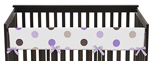 Cocoa Dots Crib Bedding - Sweet Jojo Designs Purple and Brown Modern Polka Dots Long Front Rail Guard Baby Teething Cover Crib Protector Wrap