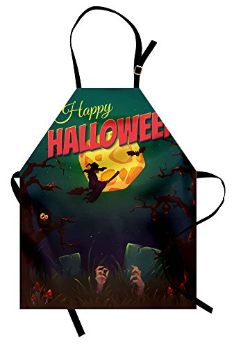 Lunarable Halloween Apron, Happy Halloween Poster Design Witch on Broom Mushroom Dead Resurgence Vintage, Unisex Kitchen Bib Apron with Adjustable Neck for Cooking Baking Gardening, Multicolor