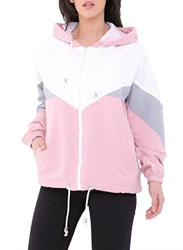21FASHION Womens Color Block Long Sleeve Jacket Ladies Windbreaker Hooded Fancy Coat Top Small/XLarge Pink