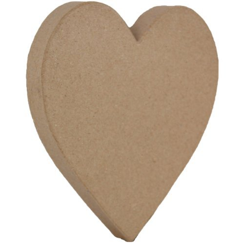 Country Love Crafts 8.25-inch Papier Mache Solid Heart, Manila