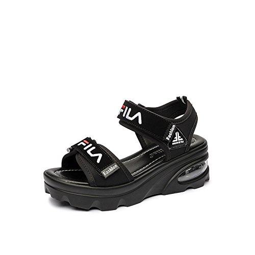 Koyi Sandalias Femeninas Summer New Velcro Casual Flat High Sport Pumps Plataforma Femenina Open-Toed High Heels 6.0cm Black