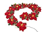 mantel christmas decorations  Pre-Lit Velvet Artificial Poinsettia 72 Inch Garland with Red Berries and Holly Leaves - Battery Operated LED Christmas Garland (Red)