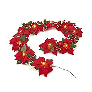 Homeseasons Pre-Lit Velvet Artificial Poinsettia 6 feet Garland with Red Berries and Holly Leaves – 3AA Battery Operated Indoor and Outdoor Use (1 Pack, Red)