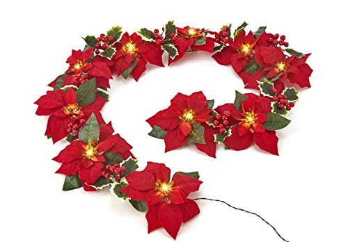 Homeseasons Pre-Lit Velvet Artificial Poinsettia 72 Inch Garland with Red Berries and Holly Leaves - Battery Operated LED Christmas Garland (Red)]()