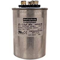 OneTrip Parts USA Run Capacitor 45+3 UF 45/3 MFD 370 VAC / 440 VAC 2-1/2 Round Heavy Duty
