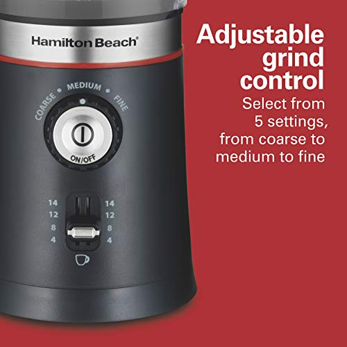 Hamilton Beach 10oz Electric Coffee Grinder with Multiple Grind Settings for up to 14 Cups, Stainless Steel Blades, Black