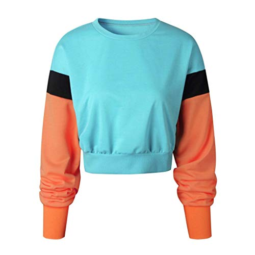 (Women Color Block Splice Pullover Vintage Long Sleeve Sweatshirt Crop Top Blouse (XL, Light Blue))