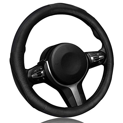(Leather Steering Wheel Cover Anti Slip Breathable Car Steering Wheel Protector Universal 15 Inch Auto Steering Wheel)