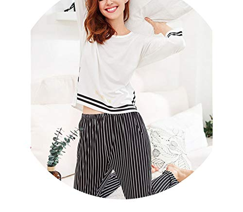 Pursuit-of-self Slit Detail Striped Long Casual Pajama Set 2019 Round Neck Long Sleeve,White,XXL