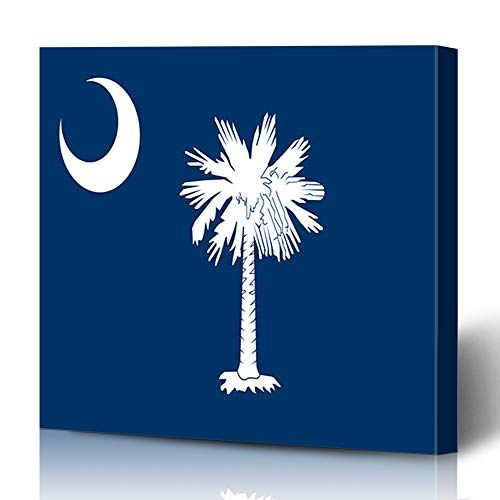 Hilton Collection Head - Ahawoso Canvas Prints Wall Art 12x12 Inches Liberty Blue Tree South Carolina State Head Emblem Hilton Palm Abstract Design America Decor for Living Room Office Bedroom