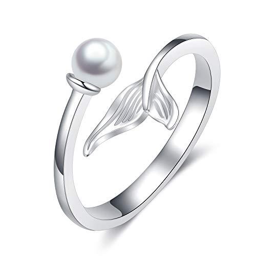 Mermaid Rings Sterling Silver Adjustable White Seashell Finger Rings for Women Teens Girls ()