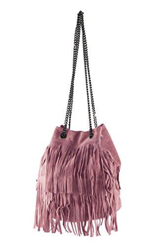 BORDERLINE - 100% Made in Italy - Bolso del Cubo de la Mujer de gamuza genuina - VIRGINIA Rosa Antigua