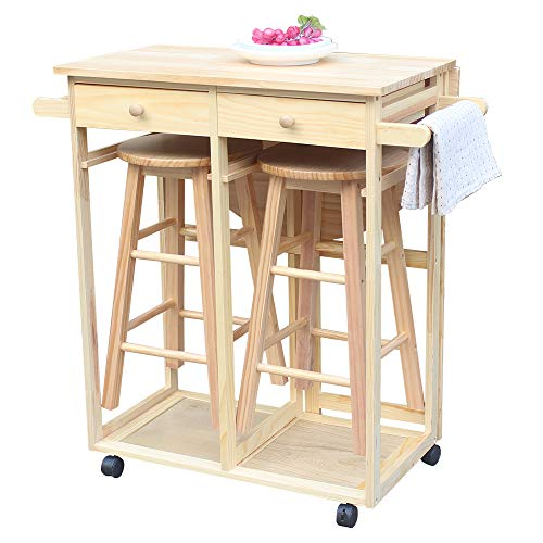 (SSLine Rolling Kitchen Island with Seating 3pcs Dining Table Set with 2 Stools,Wood Drop Leaf Breakfast Cart Table and Chair,Space Saving Foldable Kitchen Table On Wheels with 2 Drawer-Semicircle)